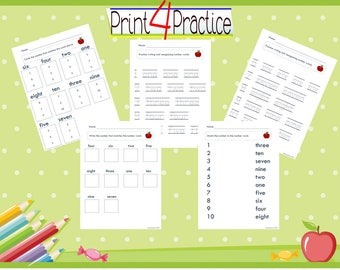 Number to word practice, kindergarten practice, summer worksheets, kids worksheets, practice worksheets