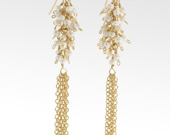 Gold filled freshwater pearl tassel chain earrings
