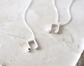 Tiny Music Note Necklace 925 Sterling Silver