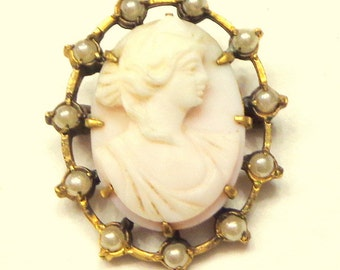 HUGE SALE, Antique Cameo, Carved Pink Shell Cameo Brooch, Victorian Cameo Brooch, Hand Carved, High Relief Cameo, Seed Pearls, Gold Filled