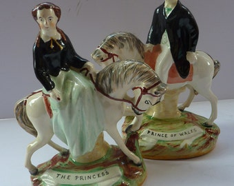 Gorgeous & Rare Pair of STAFFORDSHIRE FIGURES. The Prince of Wales and Princess on Horseback