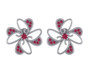 Dancing Flower Ruby Earrings, Flower Earrings, Ruby Stud, Stud Earrings, Floral Earrings, White Gold Earrings, Gift