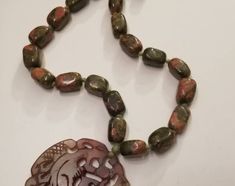 Unakite, Carved Jade Stone Necklace, Stone Necklace, Knotted, Carved Pendant, Beaded Necklace, Mint Condition, Unakite Stone
