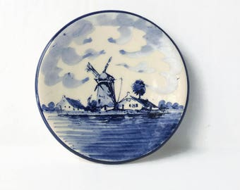 Delft Blue Wall Plate, Handpainted Blue and White Wall Hanging Delft Plate, Windmill