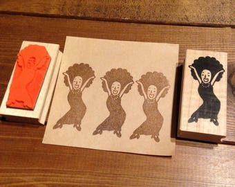 Funky Girl Rubber Stamp