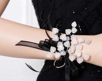 Limited Edition Genuine Quartz Crystal Corsage - White Wrist Corsage - Leaf Corsage