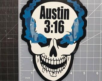 Stone Cold Steve Austin 3:16 Smoking Skull Vinyl Car Decal Sticker WWE WWF