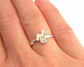 Sterling Silver Dog Ring - Dog Jewellery - Dog Lover Gift