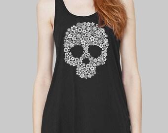 Skull - Skull Tank Top, Graphic Tank, Graphic Tanks For Women, Racerback Tank, Bella Flowy Tank Top, Flowers