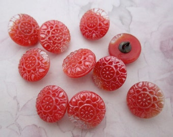 10 pcs. vintage glass orange red coral flower metal shank buttons 14mm - b216