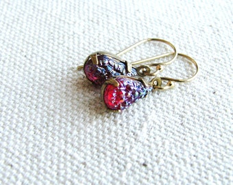 Glass Jewel Earrings Vintage Cut Gems Cherry Red Tear Drop Gold Filled Estate Style Minimalist Modern Bridal Jewelry Sparkly