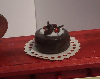 Chocolate Cake 1/12 th scale with Strawberries for dollhouse