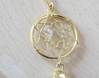 Dream catcher necklace, Citrine dream catcher necklace, gold dream catcher necklace, November birthstone