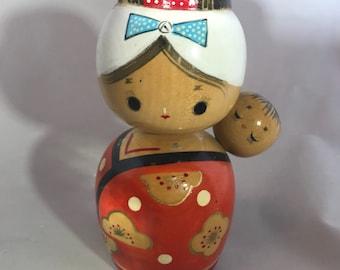 Vintage japanische Holz Volkskunst Kokeshi Puppe Mutter und Kind