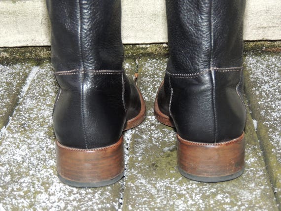 Size and US Boots Black Narrow Slip On 7 Brown ETRO Tall Pebble Vintage Riding 37 Leather Boots Leather EU Boots twT6nEqO