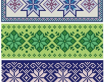 Counted Cross Stitch Patterns Three Bookmarks - Geometric