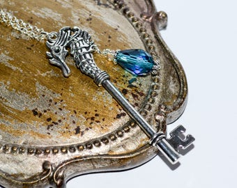 Key Pendant, Seahorse Jewelry, Seahorse Key, Big Seahorse Necklace, Key Necklace, Big Seahorse Charm, Peacock Blue Crystal, Quirky Jewelry