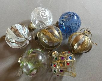Vintage blown glass ornament set of 7