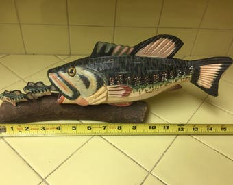 Handmade wood carving ooak Bass fish fishing river trout predator prey cabin hand carved hand painted wooden man cave artist carving