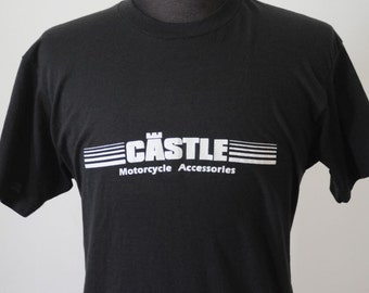 70's Motorcycle T shirt SOFT VINTAGE Tee Castle Motorcycle Black Vintage Tee by Screen Stars Extra Large