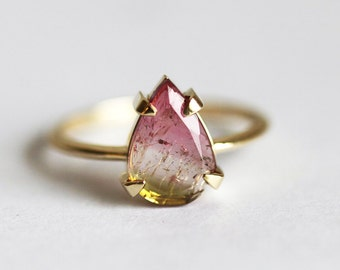 Pear Solitaire Ring, Watermelon Tourmaline Ring, Tourmaline Slice Ring, Green Tourmaline Ring, Pink Tourmaline Ring, One Of A Kind Ring