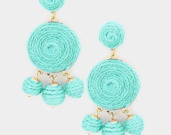 Seafoam Green Triple Thread Ball Dangle Earrings