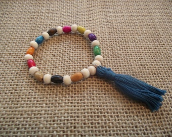 Colorful wood bead bracelet with blue tassel