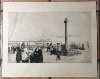 1907 etching WALTER ERNST ZEISING (1876-1933) 'Cross of the Stone' Brittany