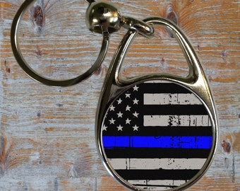 Thin Blue Line Metal Key Chains/Personalized/Police/Law Enforcement Gifts/Officer/Back the Blue/Fire/EMS/Military/Police/Sheriff/Staff Gifts