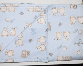 "40"" by 39"" Homemade Snuggle Flannel Reversible Baby Blanket"