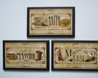 Coffee Lovers Plaques, 3pc, Java, Coffee Pictures, Mocha Classico Latte, kitchen wall decor, bistro cafe coffee