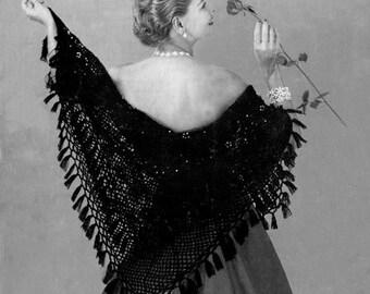 Vintage Lacy Shawl Stole Wrap Crochet Pattern PDF C163