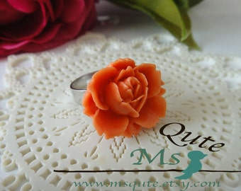 Romantic Garden Rose  Ring -orange