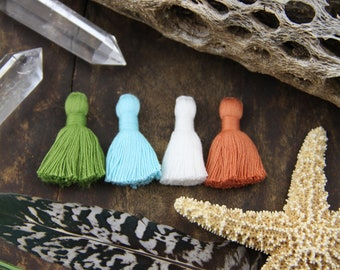 "Four Elements Tassel Mix, Mini Cotton Tassels with Solid Binding, Handmade Jewelry Making Supplies, 1.25"", 4 pieces, Hippie, Mother Nature"