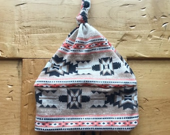 Aztec Knot Hat, Baby Girl, Blush Pink, Beige, Baby Shower, Gift, Boho, Super soft, Tribal, Newborn, Infant