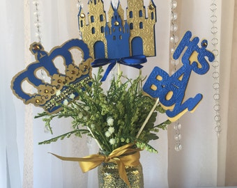 Royal prince crown/ royal crown baby shower/ crown centerpieces stick/ royal blue and gold crown/Royal Castle