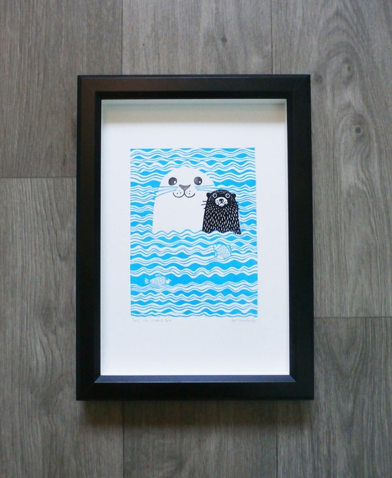 Seal, Sea Otter and Fish, Original Linocut Print, Signed Open Edition, Free Postage in UK, Hand Pulled, Printmaking,