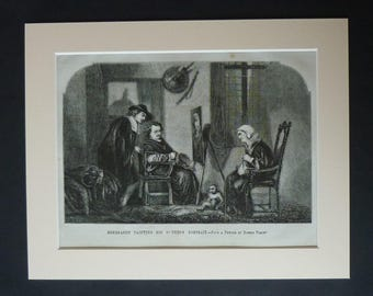 1840s Antique Joseph-Nicolas Robert-Fleury Print, Available Framed, French Art, Rembrandt Picture Painter Gift for Artist Historical Artwork