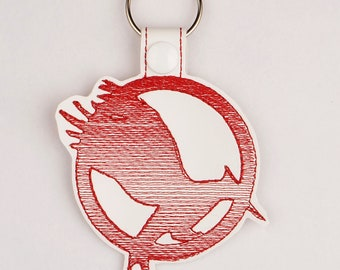 Hunger Games Catching Fire snap tab key fob ITH 4x4 machine embroidery design