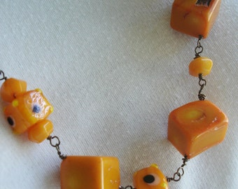Orange/Tangerine Jello Shooters Necklace  Dyed Coral Lampwork and glass