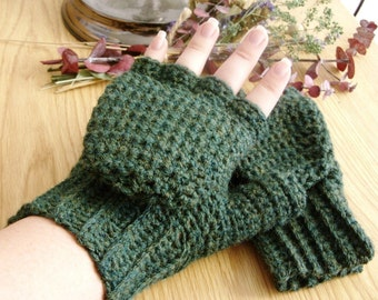 Green Wool Convertible Mittens - Green Wool Blend Convertible Mittens - Green Wool Fingerless Mittens - Green Wool Glittens - Green Mittens