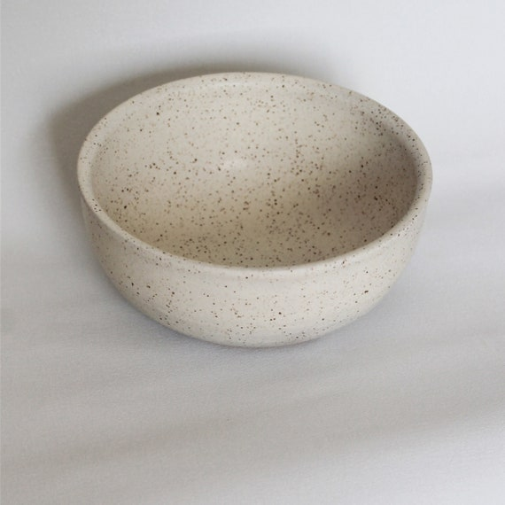 white cereal bowl, cereal bowl, bowl, rustic bowl, ceramic bowl, pottery bowl, small bowl, white speckled bowl