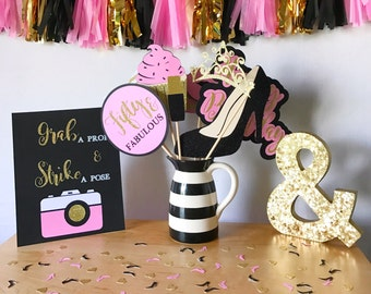 Fifty & Fabulous Birthday Photo Booth Props | Pink, Black, and Gold Photo Booth Props | Birthday Photo Booth Props