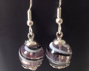 White, lilac and black glass earring