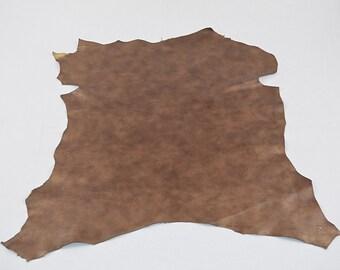 Marbled golden goatskin leather