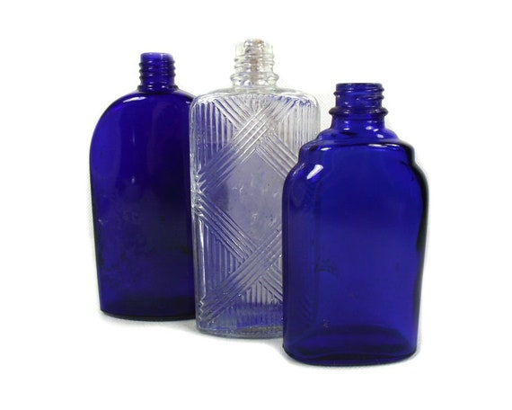 Vintage Set of 3 Cobalt Blue and Clear Glass Bottles