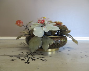 Chinese Glass Flowers in a Cloisonné Vase Jade Glass Flower Agate Glass Flowers Jade Stone Floral Sculpture
