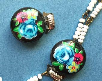 Vintage Bracelet clasp, Vintage clasp, floral clasp, glass clasp, vintage flower clasp, vintagerosefindings, Limoges clasp, 2 strand, #1040D