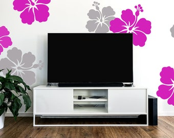 Hibiscus Decal, Large Wall Flower, Hibiscus Flower Decal, Hawaiian Decal, Pink Hibiscus Flower, Living Room Decor, Wall Vinyl Decal, ID660