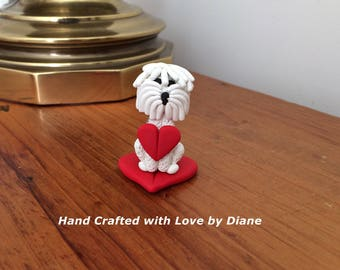 Hand Crafted Polymer Clay Miniature Old English Sheepdog  Sheep dog and Heart